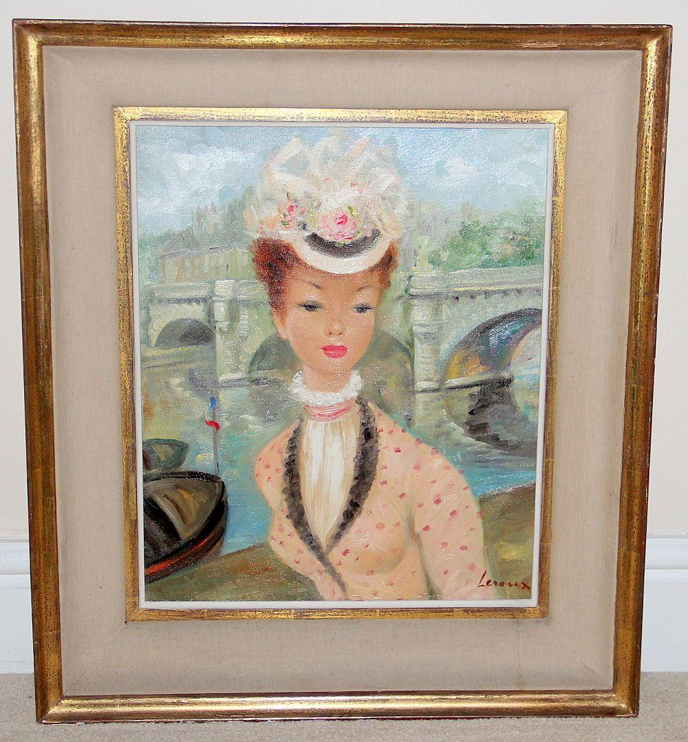 james miles leroux 1950s french oil on canvas portrait 1 250