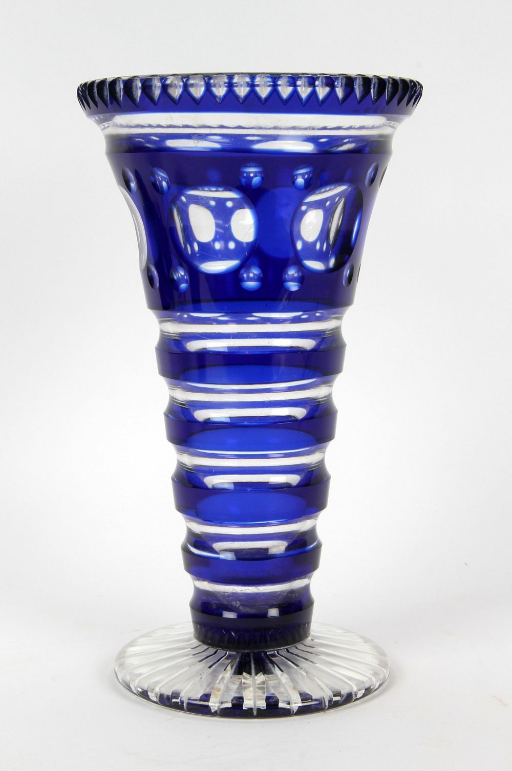 vase vintage blue cut glass
