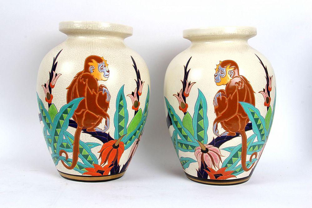 Célèbre James Miles: Orchies French Faience Art Deco 'Monkey' Vases, £650 AL78
