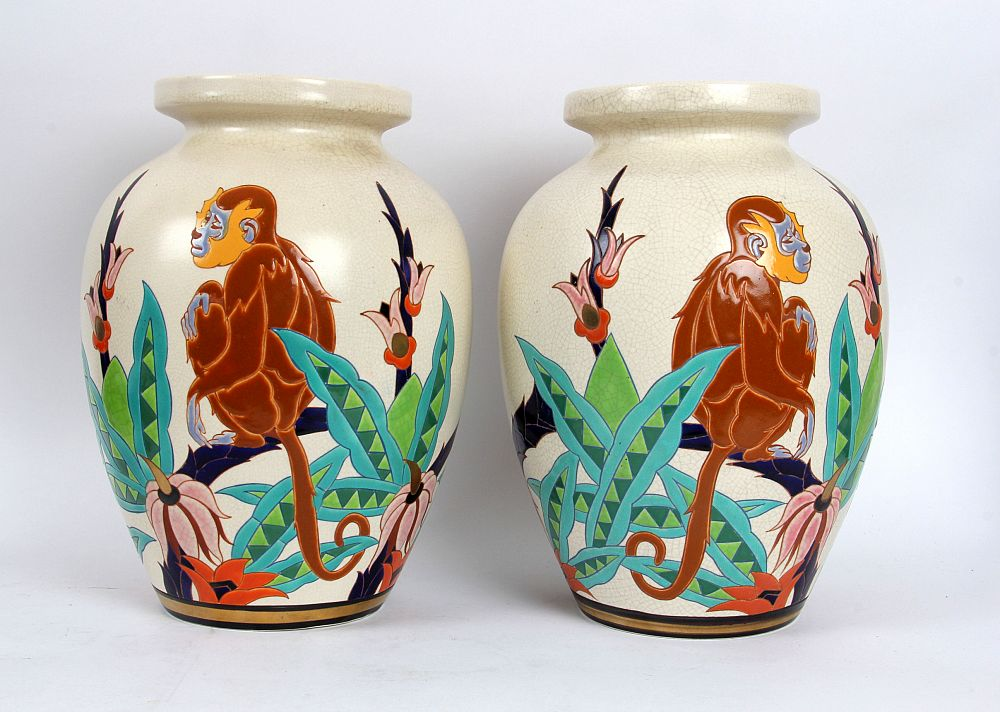 Assez James Miles: Orchies French Faience Art Deco 'Monkey' Vases, £650 EB52