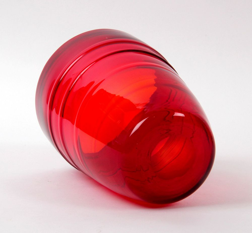James miles whitefriars ruby ribbon trailed glass bucket vase 75 this is a very appealing whitefriars ruby art glass vase with ribbon trailed applied decoration this is a shape refered to as the bucket shape reviewsmspy