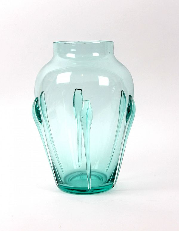 James Miles Whitefriars Art Deco Emerald Teardrop Glass